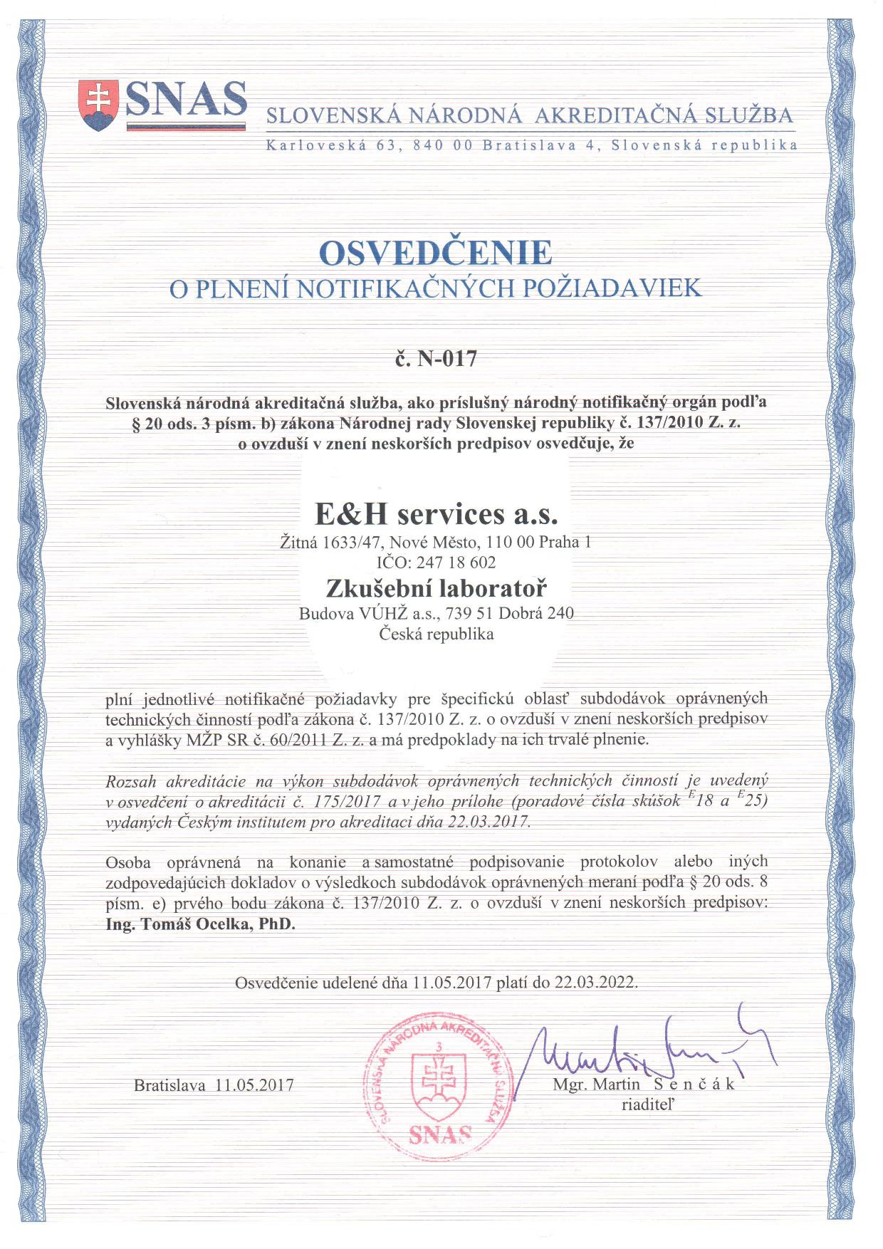 Certification Eh Services As